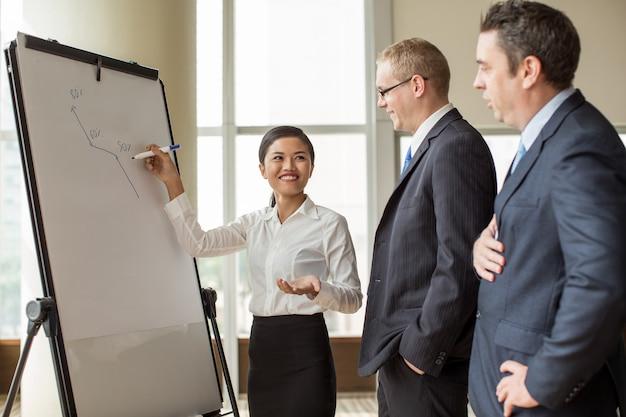 Uśmiechnięta biznesowa dama wyjaśnia wzrostowego diagram