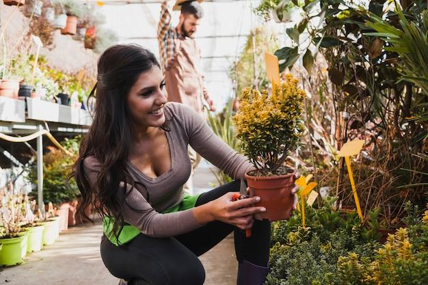 Uśmiechnięta kobieta patrzeje doniczkowego kwiatu
