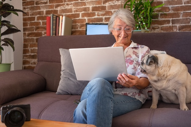 Uśmiechnięta starsza kobieta rozmawia ze swoim mopsem, siedząc na kanapie w domu przy użyciu laptopa