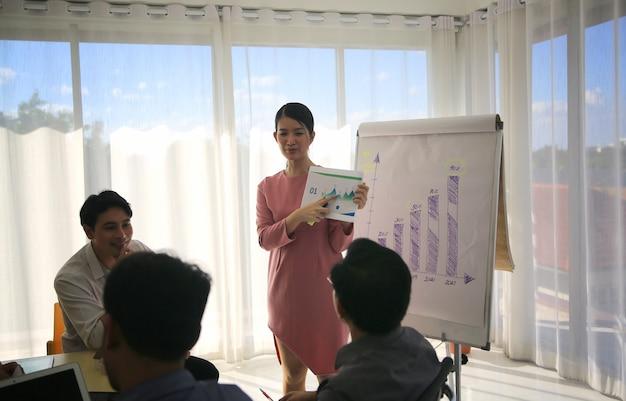 Uśmiechnięta tysiącletnia trenerka lub prezenterka rozmawia z wielorasowymi kolegami na spotkaniu, szczęśliwa młoda nauczycielka przygotowuje prezentację na tablicy flip chart na odprawie w biurze