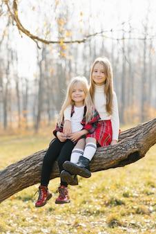 Uśmiechnięte dzieci siedzą na drzewie w jesiennym parku