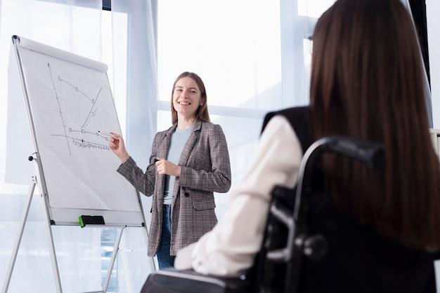 Uśmiechnięte kobiety pracujące razem