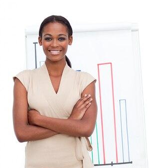 Uśmiechnięte żeńskie wykonawcze reportaż liczby sprzedaży
