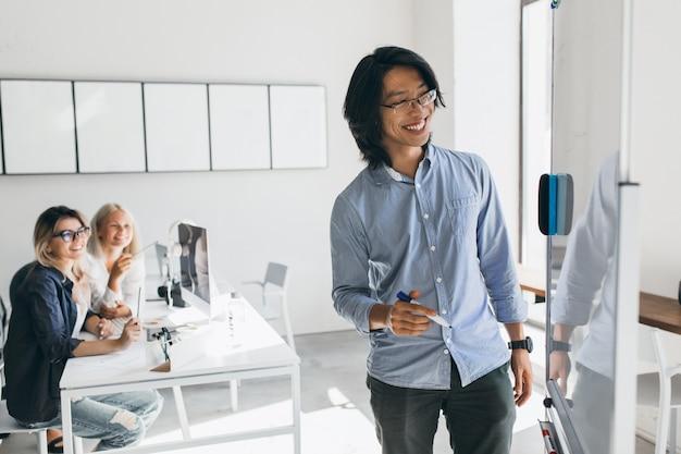 Uśmiechnięty azjatycki niezależny deweloper rysuje plan działania na flipcharcie. blondynka młodych menedżerów patrzy na zagraniczną koleżankę, która pisze coś na pokładzie.