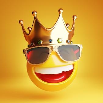 Uśmiechnięty emotikon ze złotymi okularami przeciwsłonecznymi i królewską koroną 3d