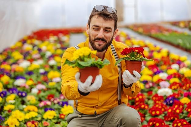 Uśmiechnięty przedsiębiorca skulony w szklarni i oferujący kwiaty w prezencie.