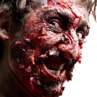 Uśmiechnięty zombie twarz