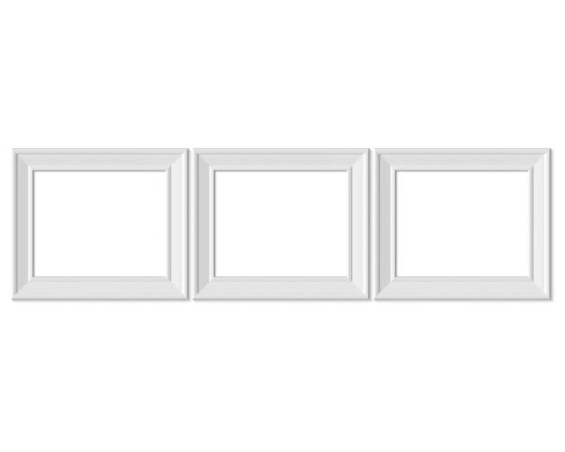 Ustaw 3 poziomą ramkę poziomą 4x5. realisitc papier, drewniany lub plastikowy biały blank.
