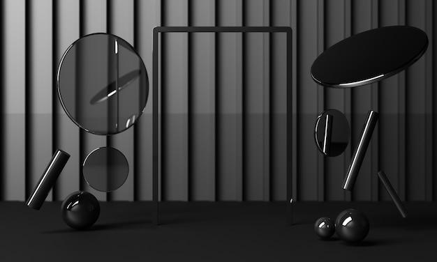 Ustaw geometryczne kształty z błyszczącymi czarnymi teksturami i lustrami na czarnym tle. renderowania 3d