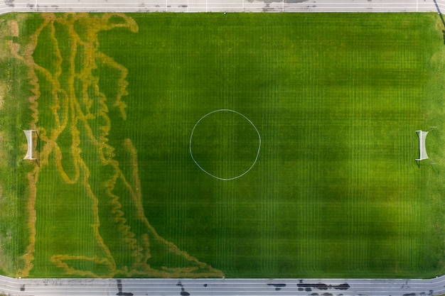 Uszkodzona trawa trawnikowa na boisku piłkarskim.