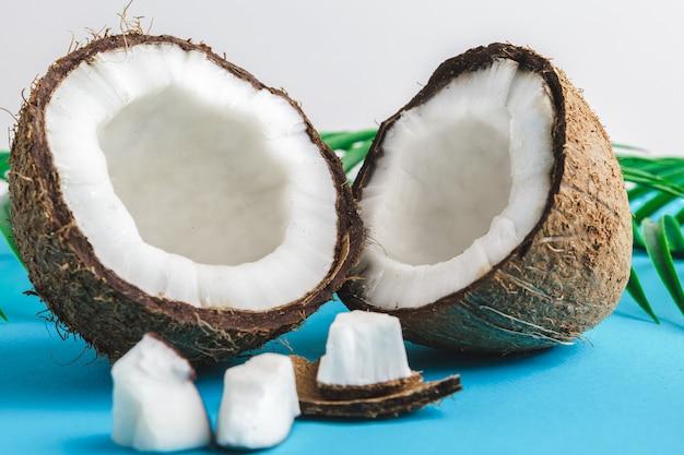 Uszkodzone kawałki kokosa ze skorupką z bliska