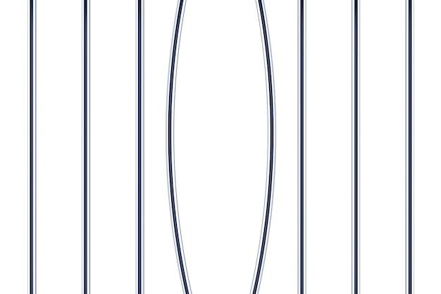 Uszkodzone kraty więzienne na białym tle. renderowanie 3d