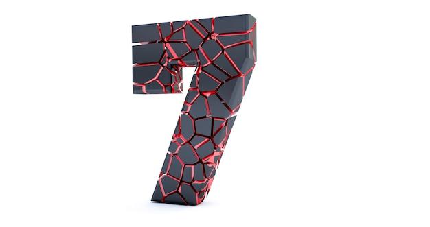 Uszkodzony numer na białym tle (numer 7)