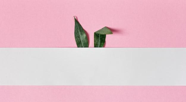 Uszy królika wykonane są z zielonych liści na różowym tle. koncepcja miejsca na kopię karty wielkanoc i królik
