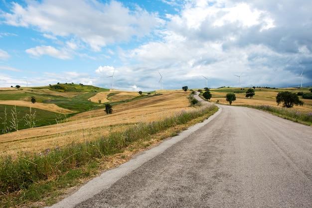 Utwardzona droga przechodząca przez pola uprawne