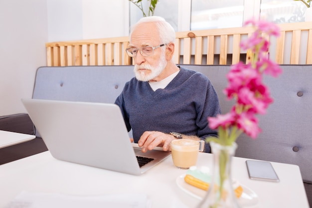 Uważny starszy freelancer za pomocą laptopa i siedząc w kawiarni