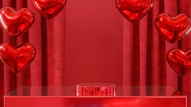 Uwielbiam baner społeczny z czerwonymi balonami i czerwonymi zasłonami na czerwonym tle z podium renderowania 3d