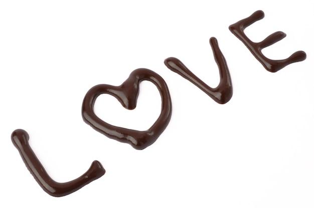 Uwielbiam czekoladę na białym tle