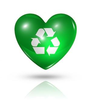 Uwielbiam recykling symbol ikonę flagi serca
