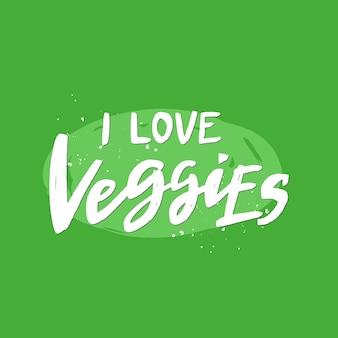 Uwielbiam warzywa odręcznie napisany napis