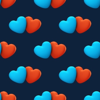Uwielbiam wzór na niebieskim tle. walentynki karta