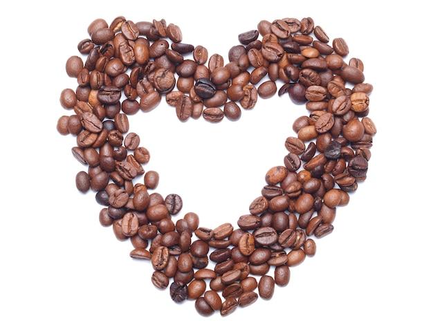 Uwielbiany przez koncepcję kawy z ziaren kawy na białym tle