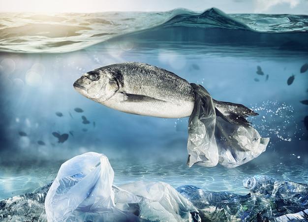 Uwięziona ryba przez pływającą torbę. problem zanieczyszczenia tworzyw sztucznych w koncepcji morskiej