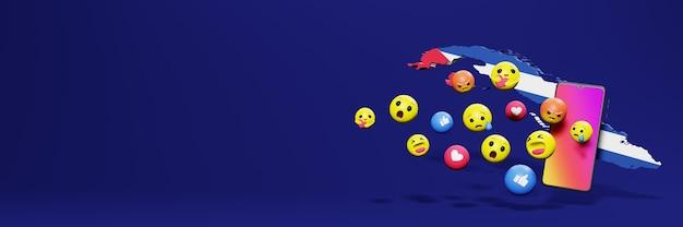 Użyj emoticon na kubie na potrzeby telewizji społecznościowej i tła strony internetowej, puste miejsce