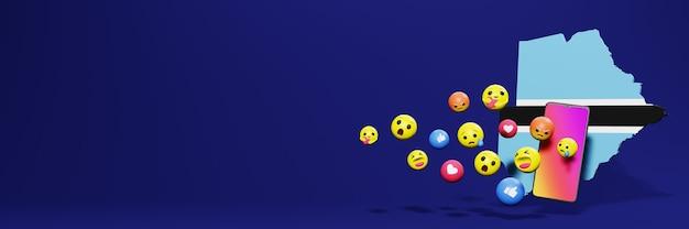 Użyj emoticon w botswanie na potrzeby telewizji społecznościowej i tła strony internetowej, puste miejsce