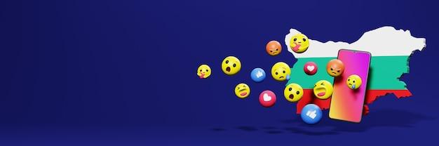 Użyj emoticon w bułgarii na potrzeby telewizji społecznościowej i tła strony internetowej, puste miejsce