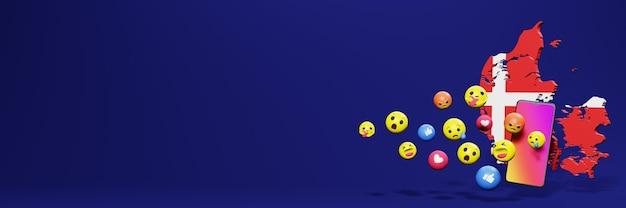 Użyj emoticon w danii na potrzeby telewizji społecznościowej i tła strony internetowej, puste miejsce
