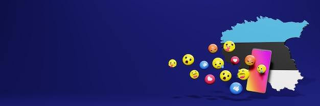 Użyj emoticon w estonii na potrzeby telewizji społecznościowej i tła strony internetowej, puste miejsce