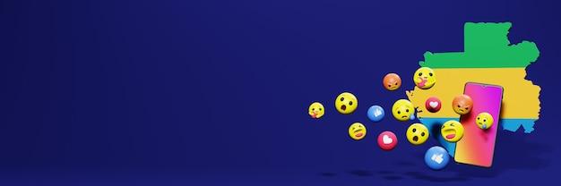 Użyj emoticon w gabonie na potrzeby telewizji społecznościowej i tła strony internetowej, puste miejsce