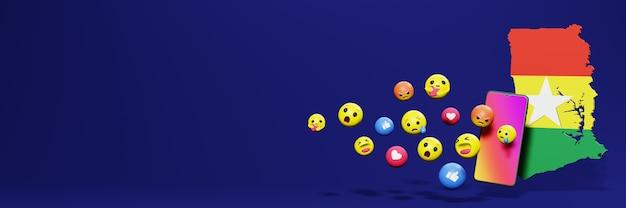 Użyj emoticon w ghanie na potrzeby telewizji społecznościowej i tła strony internetowej, puste miejsce