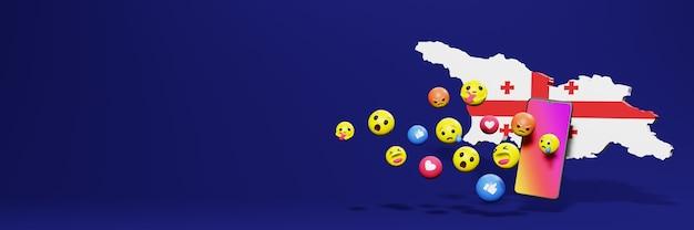 Użyj emoticon w gruzji na potrzeby telewizji społecznościowej i tła strony internetowej, puste miejsce