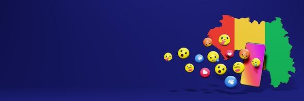 Użyj emoticon w gwinei bissau na potrzeby telewizji społecznościowej i tła strony internetowej