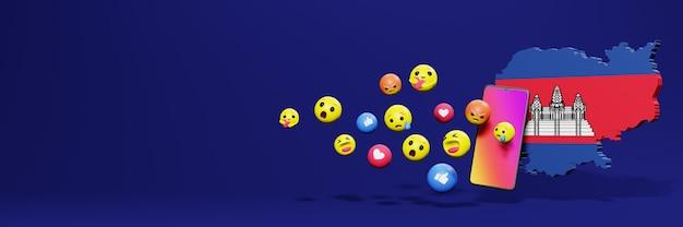 Użyj emoticon w kambodży na potrzeby telewizji społecznościowej i tła strony internetowej, puste miejsce