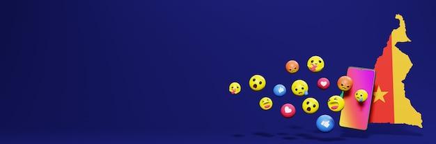 Użyj emoticon w kamerunie na potrzeby telewizji społecznościowej i tła strony internetowej, puste miejsce