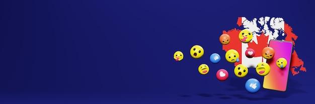 Użyj emoticon w kanadzie na potrzeby telewizji społecznościowej i tła strony internetowej, puste miejsce