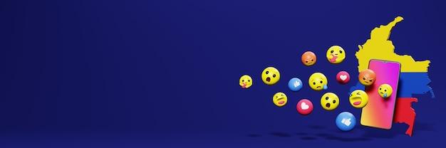 Użyj emoticon w kolumbii na potrzeby telewizji społecznościowej i tła strony internetowej, puste miejsce