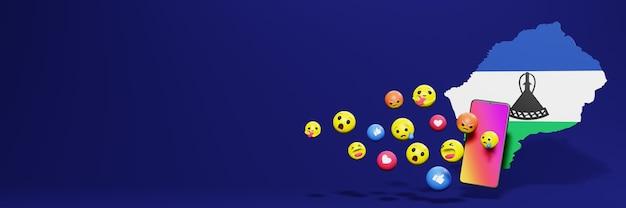 Użyj emotikon mediów społecznościowych w lesotho na potrzeby telewizji społecznościowej i tła strony internetowej