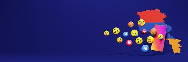 Użyj emotikonów mediów społecznościowych w armenii na potrzeby telewizora i tła strony internetowej, puste miejsce