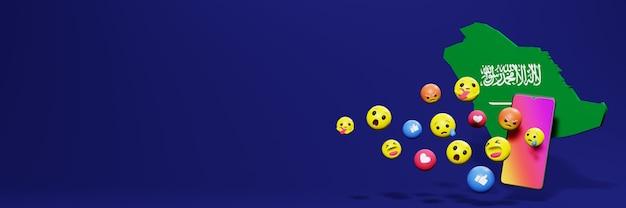 Użyj emotikonów mediów społecznościowych w języku arabskim na potrzeby telewizora i tła strony internetowej, puste miejsce