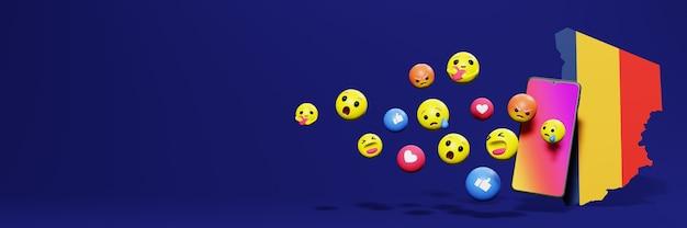 Użyj emotikonów w czadzie na potrzeby telewizji społecznościowej i tła strony internetowej, puste miejsce