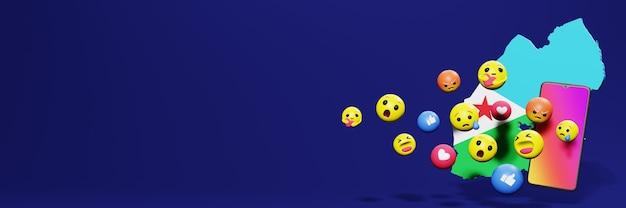 Użyj emotikonów w dżibuti na potrzeby telewizji w mediach społecznościowych i tła strony internetowej, puste miejsce