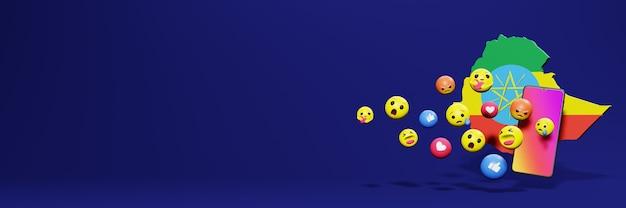 Użyj emotikonów w etiopii na potrzeby telewizji w mediach społecznościowych, a tło strony internetowej jest puste
