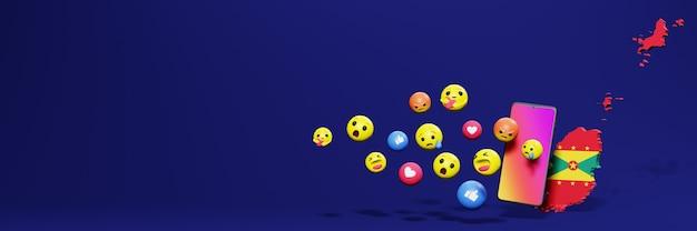 Użyj emotikonów w grenadzie na potrzeby telewizji w mediach społecznościowych, a tło strony internetowej okładki pustej przestrzeni