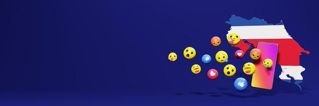 Użyj emotikonów w kostaryce na potrzeby telewizji społecznościowej i tła strony internetowej, puste miejsce