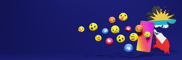 Użyj emotikonu mediów społecznościowych w antiqua i barbud na potrzeby telewizji i strony internetowej