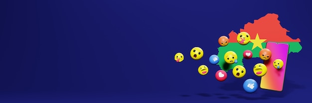 Używaj emoticon w burkina faso na potrzeby telewizji społecznościowej i tła strony internetowej